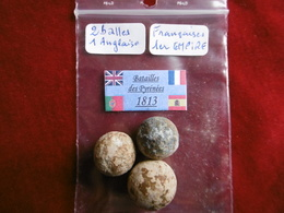 - Lot De 3 Balles En Plomb De Mousquet Du 1er Empire. - Decorative Weapons