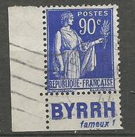 PAIX N° 368 PUB BYRRH OBL TB - Advertising