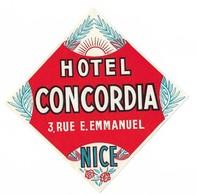 Étiquette D'Hotel Hotel Concordia Nice - Etiquettes D'hotels