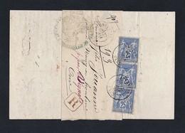 Sage Y/T 78 X 3 Sur Document Recommandé Tribunal D' Argentan TAD Du 22/05/1877 - Poststempel (Briefe)