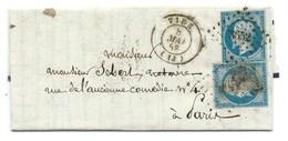 N° 14 BLEU NAPOLEON SUR LETTRE / VIRE  POUR PARIS 8 MAI 1858 - Marcophilie (Lettres)