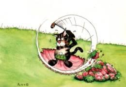 CPM - ILLUSTRATION Signé ALEX - CHAT Au GOLF - Autres Illustrateurs