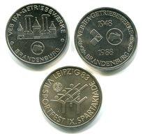 4766 - DDR - 3 Verschiedene Medaillen - Thema: Brandenburg Und Leipzig - Souvenir-Medaille (elongated Coins)