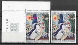 France 1963 - Variété - Chagall  Tour Eiffel Bordé De Violet + 1 Normal Y&T N° 1398 ** Neufs Luxe ( Voir Descriptif ) - Variétés Et Curiosités