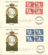 Denmark FDC 24-5-1960 Royal Silver Wedding Block Of 4 Complete Set Of 2 On 2 Covers With Cachet - FDC