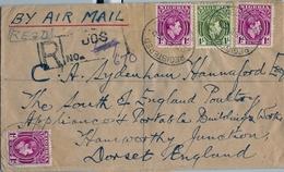 1950 , NIGERIA , SOBRE CERTIFICADO , CORREO AÉREO , JOS - DORSET , TRÁNSITO DE KANO - Nigeria (...-1960)
