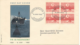 Denmark FDC 1-8-1960 Lighthouse Service In Block Of 4 With Cachet - FDC
