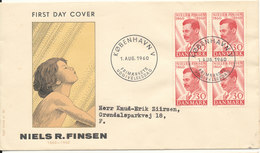 Denmark FDC 1-8-1960 Niels Finsen In Block Of 4 With Cachet - FDC