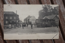 CPA - Maeseyck ( Maaseik ) - Porte De Bois-le-Duc - Café - Hôtel - Tram - Tramway - Maaseik