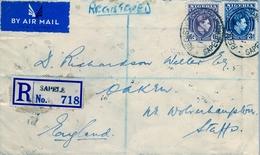 1938 , NIGERIA , SOBRE CERTIFICADO , SAPELE - INGLATERRA , TRÁNSITO DE LAGOS , CORREO AÉREO - Nigeria (...-1960)