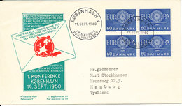 Denmark FDC 19-9-1960 EUROPA CEPT In Block Of 4 With Cachet - FDC
