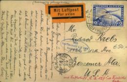 1928, Nordamerikafahrt, Bedarfspostkarte Mit Viel Text (Sieger 21) - Zeppelins
