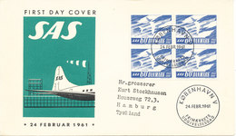 Denmark FDC 24-2-1961 SAS 10th Anniversary In Block Of 4 With Cachet - FDC
