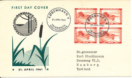 Denmark FDC 21-4-1961 The Danish Society For Nature Conservation 50th Anniversary In Block Of 4 With Cachet - FDC