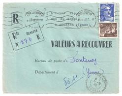 4449 AUXERRE Yonne Valeur à Recouvrer Gandon 6 F Bleu 720 3 F Brun 715 Tarif 01 01 1946 Fontenoy Recommandé De Fortune - Storia Postale