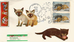 Chatons Et Chiots. Lettre Oblitération Chatons De White Plains, New York 1982 - Hauskatzen