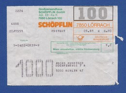 BRD Beleg Postgut - Großversandhaus SCHÖPFLIN GmbH, LÖRRACH 1981 - BRD