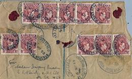 1950 , NIGERIA , SOBRE CERTIFICADO , IKOT EKPENE - DEVON , CORREO AÉREO , TRÁNSITOS ABA , LAGOS - Nigeria (...-1960)