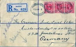 1933 , NIGERIA , SOBRE CERTIFICADO , IBADAN - BERLIN , LLEGADA , FR. COMPLEMENTARIO - Nigeria (...-1960)