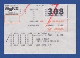 Beleg Päckchen Großversandhaus WENZ, PFORZHEIM > BERLIN 1980 - BRD