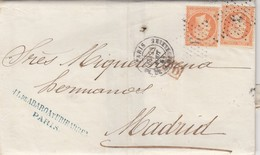 LETTRE. 23 AOUT 1864. JL.DE ABAROA Y URIBARDEN PARIS PL. DE LA MADELEINE ETOILE 3. POUR MADRID EN DOUBLE PORT - Marcofilie (Brieven)