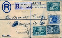 1937 , NIGERIA , SOBRE CERTIFICADO , IFON - CHICAGO , TRÁNSITO DE LAGOS , NEW YORK Y LLEGADA - Nigeria (...-1960)