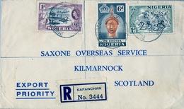 1957 , NIGERIA , SOBRE CERTIFICADO , KAFANCHAN - KILMARNOCK , TRÁNSITOS KADUNA , KANO - Nigeria (...-1960)