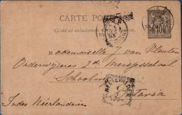 France 1893, Carte Postale Sage 10 C. Chamois Paris Par Batavia Pour Weltevreden, Indes Néerlandaise - Postal Stamped Stationery