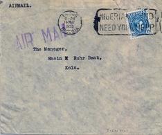 1953 , NIGERIA , SOBRE CIRCULADO , LAGOS - COLONIA , CORREO AÉREO - Nigeria (...-1960)