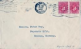 1952 , NIGERIA , SOBRE CIRCULADO , LAGOS - BREMEN - Nigeria (...-1960)