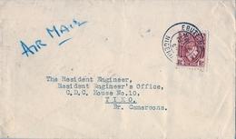1950 , NIGERIA , SOBRE CIRCULADO , EBUTE METTA - TIKO ( CAMERÚN BRITÁNICO ) , CORREO AÉREO - Nigeria (...-1960)