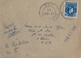 1945 , NIGERIA , SOBRE CIRCULADO , ETINAN - SEATTLE , TRÁNSITOS UYO Y ABA - Nigeria (...-1960)