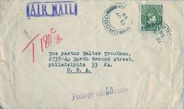 1950 , NIGERIA , SOBRE CIRCULADO , OPOBO - PHILADELPHIA , TRÁNSITO NEW YORK , TASA POR INSUFICIENCIA DE FRANQUEO - Nigeria (...-1960)