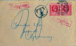 1930 , NIGERIA , SOBRE CIRCULADO A ERFURT , TASA POR INSUFICIENCIA DE FRANQUEO - Nigeria (...-1960)