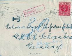1933 , NIGERIA , SOBRE CIRCULADO , LAGOS - SCHRAMBERG , TASA POR INSUFICIENCIA DE FRANQUEO - Nigeria (...-1960)