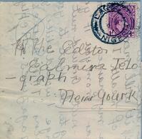 1948 , NIGERIA , FAJA POSTAL IMPROVISADA CIRCULADA ENTRE LAGOS Y NEW YORK , DEBERIA LLEVAR UN FRANQUEO DE 2 1/2 D. - Nigeria (...-1960)