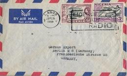 """1959 , NIGERIA , SOBRE CIRCULADO , LAGOS - BERLIN , MAT. """" LICENCE YOUR RADIO """" - Nigeria (...-1960)"""