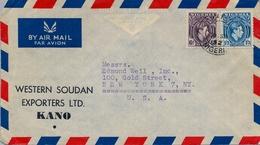 1952 , NIGERIA , SOBRE CIRCULADO , KANO - NEW YORK - Nigeria (...-1960)