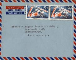 1967 NIGERIA , SOBRE CIRCULADO , LAGOS , CORREO AÉREO , FR. TEMA AVES , GREY PARROT , LOROS , BIRDS - Nigeria (1961-...)
