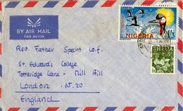 1967 NIGERIA , SOBRE CIRCULADO , ADO EKITI - LONDRES , CORREO AÉREO , FR. CROWN BIRD , ARTESANIA , AVES , BIRDS - Nigeria (1961-...)