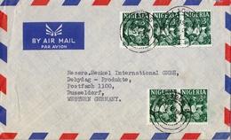 1962 NIGERIA , SOBRE CIRCULADO , LAGOS - DUSSELDORF , ARTESANIA , OYO CARVER , CRAFTMANSHIP - Nigeria (1961-...)