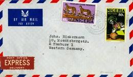 1977 NIGERIA , SOBRE CIRCULADO , EXPRESS DELIVERY , YANKARI GAME RESERVE , POTTERY , CERÁMICA - Nigeria (1961-...)