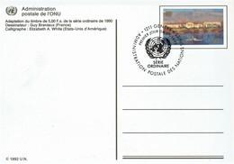 UN Genf - Ganzsache Postkarte Gestempelt / Postcard Used (c407) - Genf - Büro Der Vereinten Nationen