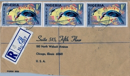 1966 NIGERIA , SOBRE CERTIFICADO , PORT HARCOURT - CHICAGO , LLEGADA , TRÁNSITOS , FR. AVES , BIRDS , KINGFISHER - Nigeria (1961-...)