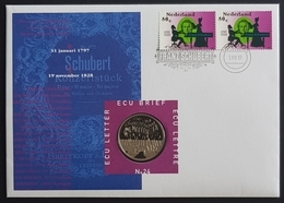 1997 FDC, Ecu Brief With Coin, Lettre, Franz Schubert, Nederland, Netherlands, Holland, Pays Bas - FDC