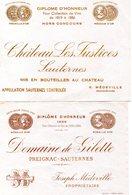 Etiquettes Diplôme D'honneur Pour Collection De Vin De 1819 Et 1886 Château LES JUSTICES Et Domaine De GILETTE Sauternes - Bordeaux