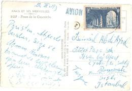 3458 PARIS Carte Postale Par Avion Destination Istambul Turquie 25 F St Wandrille Yv 842 - Francia