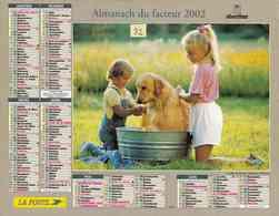 °° Calendrier Almanach La Poste 2002 Oberthur - Dépt 32 - Enfants Et Chiens - Kalenders