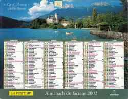°° Calendrier Almanach La Poste 2002 Oberthur - Dépt 32 - Lac D'Annecy Et Bénodet - Kalenders