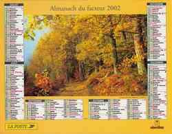 °° Calendrier Almanach La Poste 2002 Oberthur - Dépt 32 - Sous-bois En Automne Et Torrent De L'Arc - Kalenders
